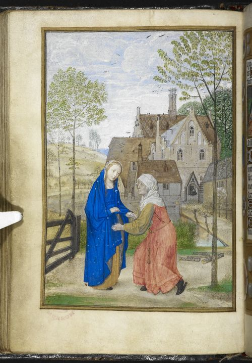1485-90 Simon Marmion The_Visitation._Mary_and_Elizabeth_in_the_garden_of_a_country_house_-_Huth_Hours_,_f.66v_-_BL_Add_MS_38126