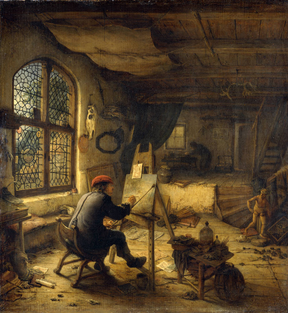 1663 Gabriel van Ostade Le peintre dans son atelier Gemaldegalerie Alte Meister Dresde