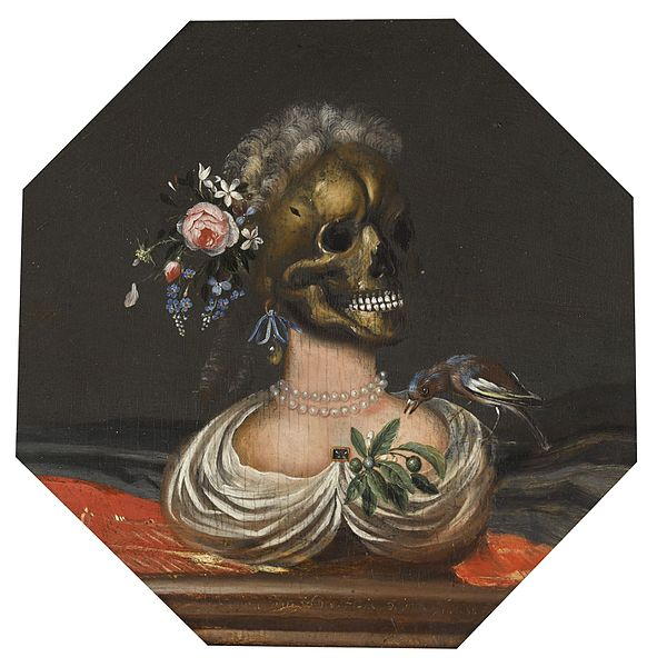 1688 Catarina_Ykens_II_-_Vanitas_bust_of_a_lady_with_a_crown_of_flowers_on_a_ledge coll privee