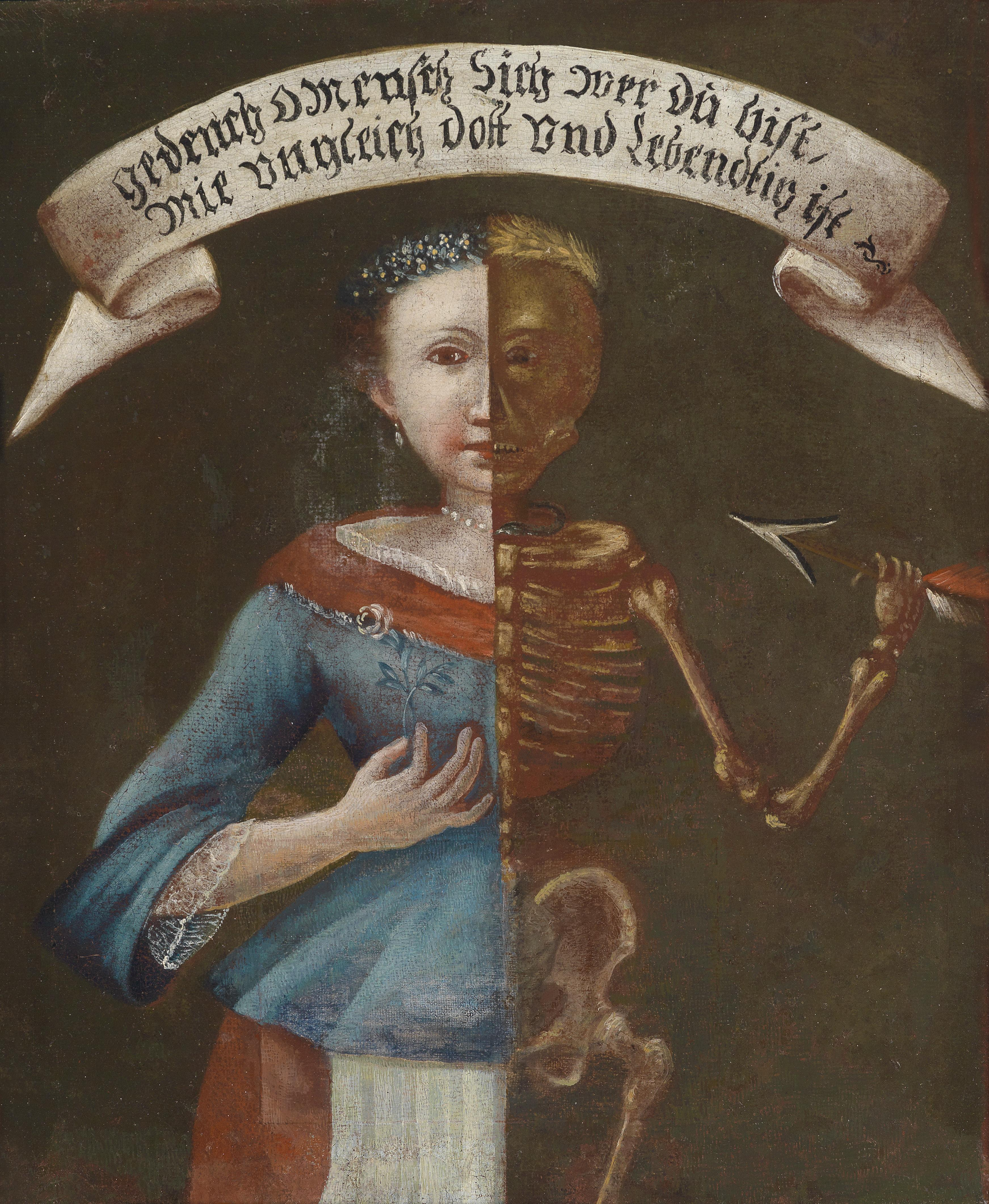 18. Jahrhundert Stadtischen Museum Rosenheim Gedenck O Mensch Sich wer Du bist Wie ungleich Dott und Lebendig ist, suddeutsch 46 x 38,2 cm