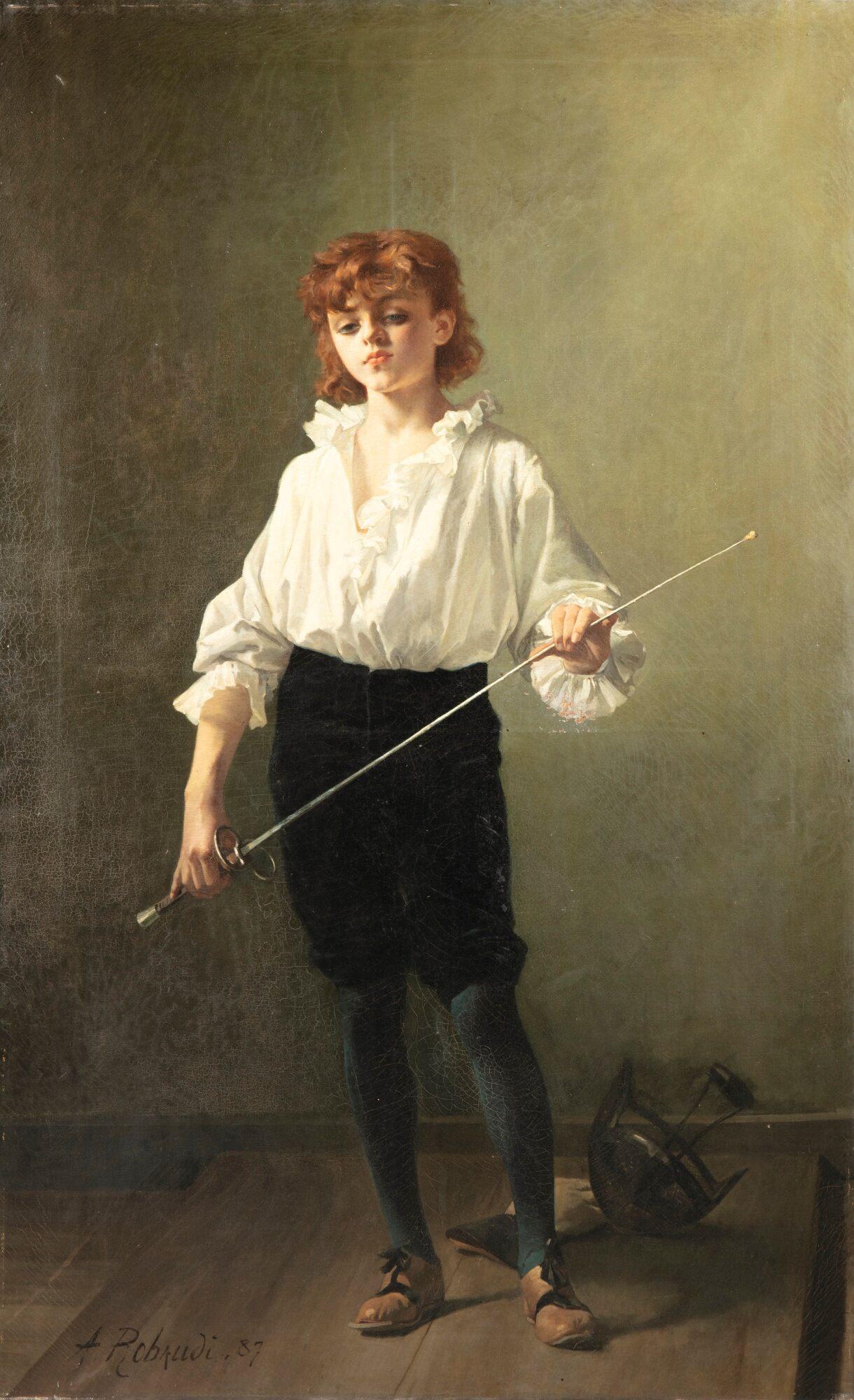 1887 A.T.Robaudi La lecon d'escrime