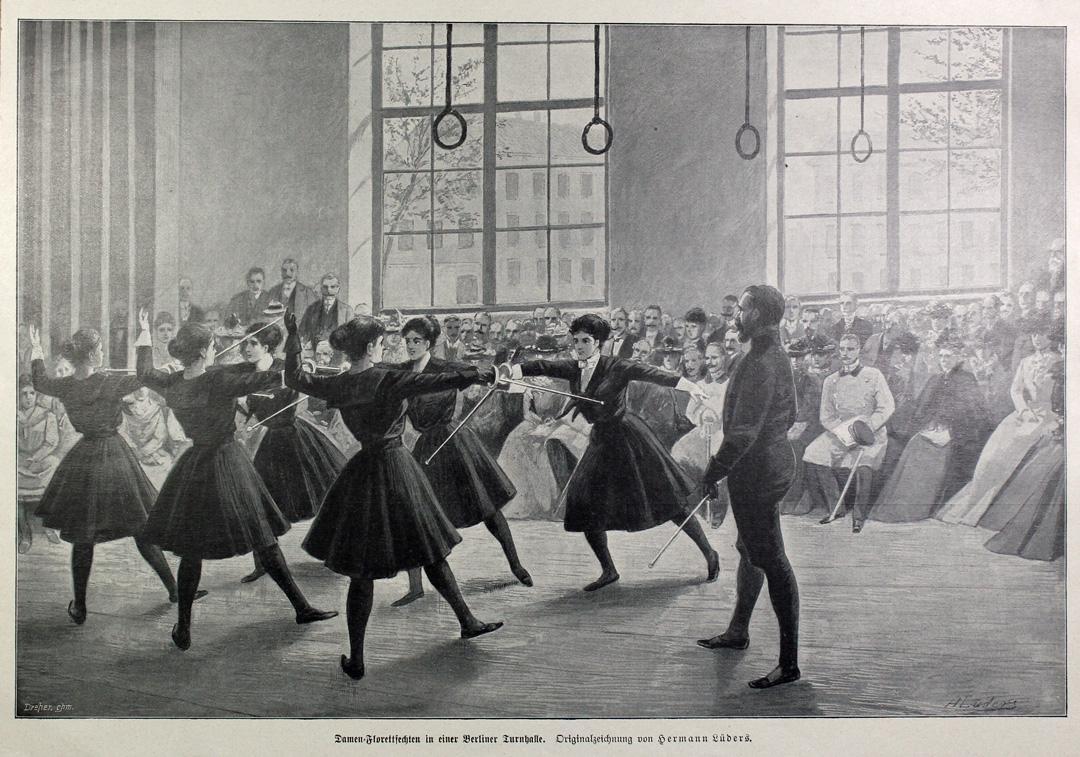 1890 ca Damen-Florettfechten in einer Berliner Turnhalle Hermann Lueders