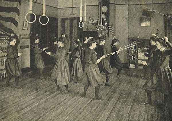 1890 ca fencing_class Bennet School For Girls.