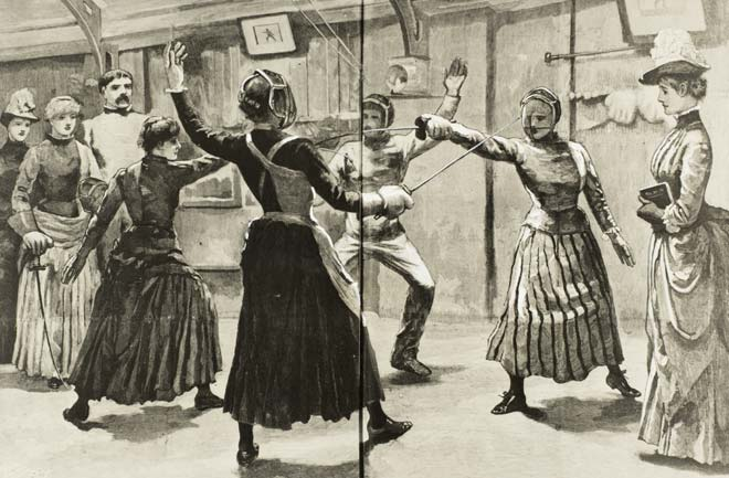 1891 UK Women's fencing class, New Zealand Graphic and Ladies' Journal