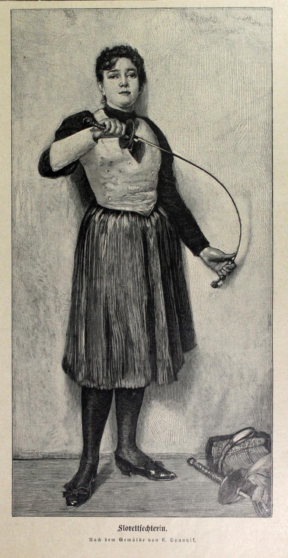 1899 Fleurettfechterin d'apres la peinture de Kornel M. Spanyik Hongrie