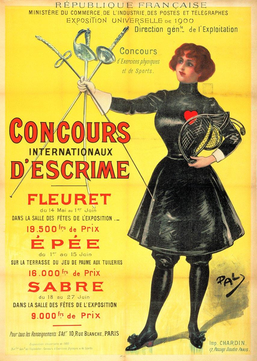 1900 affiche Concours_internationaux_d'escrime PAL