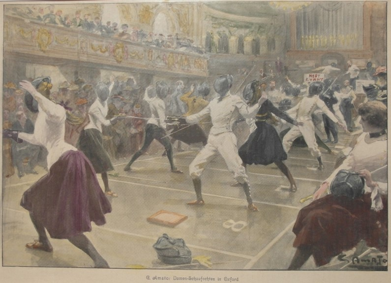 1902 UK SPORT WOMEN Fencing Oxford Town Hall Exhibition