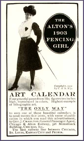 1903 Alton's fencing girl calendar