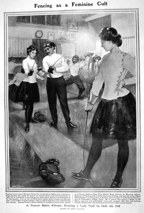 1908 UK October 17 The Graphic Fencing as a Feminine Cult - A Famous Maitre d'Armes Teaching a Lady Pupil to Hold the Foil