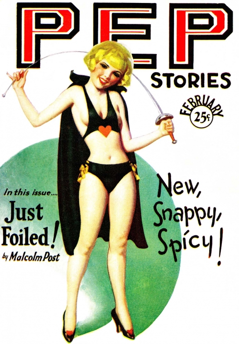 1930 unknown-cover-ps-1930-blonde-girl-in-black-with-cape-and-sword