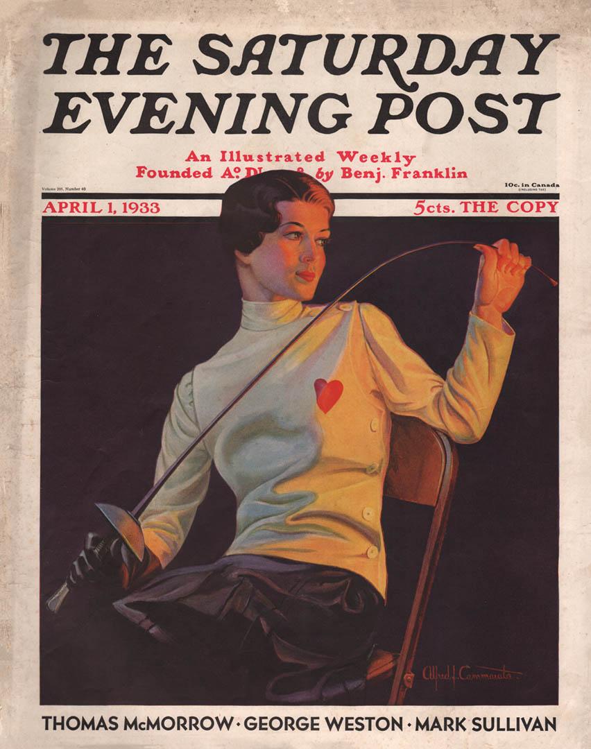 1933 April 1 Alfred J. Cammarata - Female Fencer, Saturday Evening Post Cover
