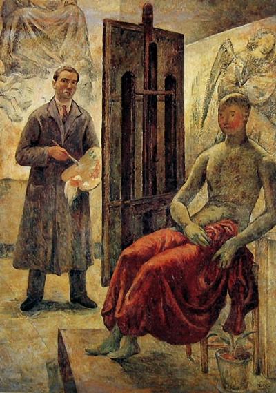 1942 Michele Dixit Autoritratto nello studio.