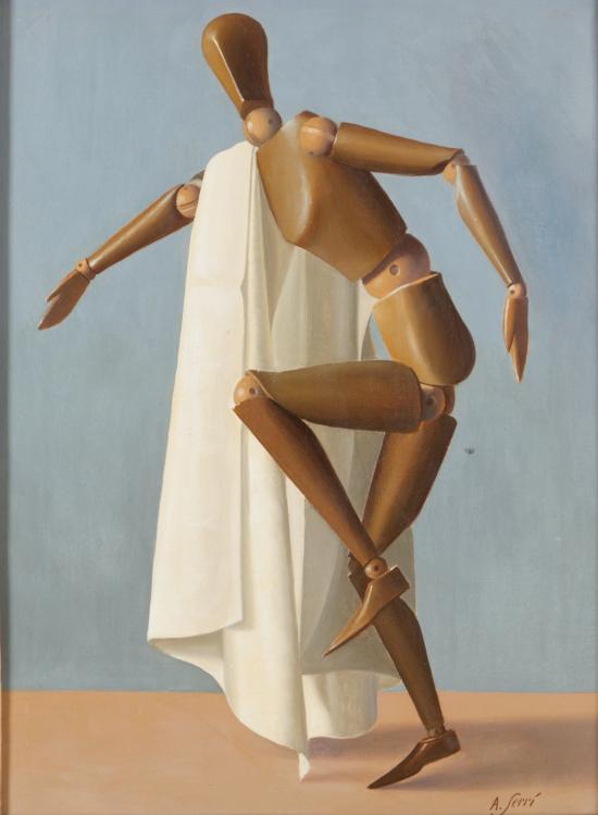 1950 Alfredo Seri Manichino con drappo bianco