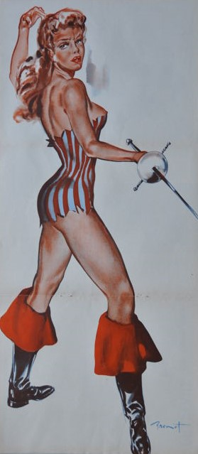 1950 Pierre Laurent Brenot - Pin-up with sword