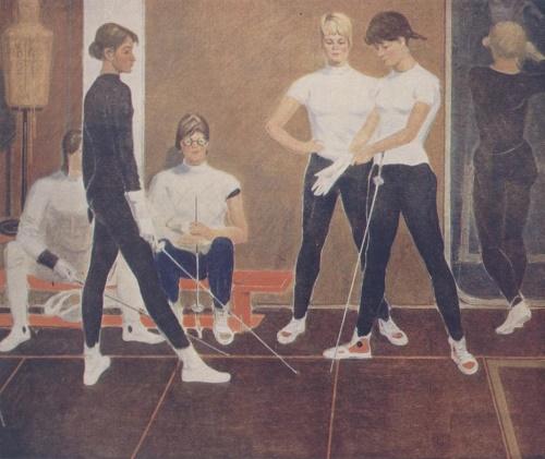 1965. Alexandr Evgenievich Novgorodsky Fencers.