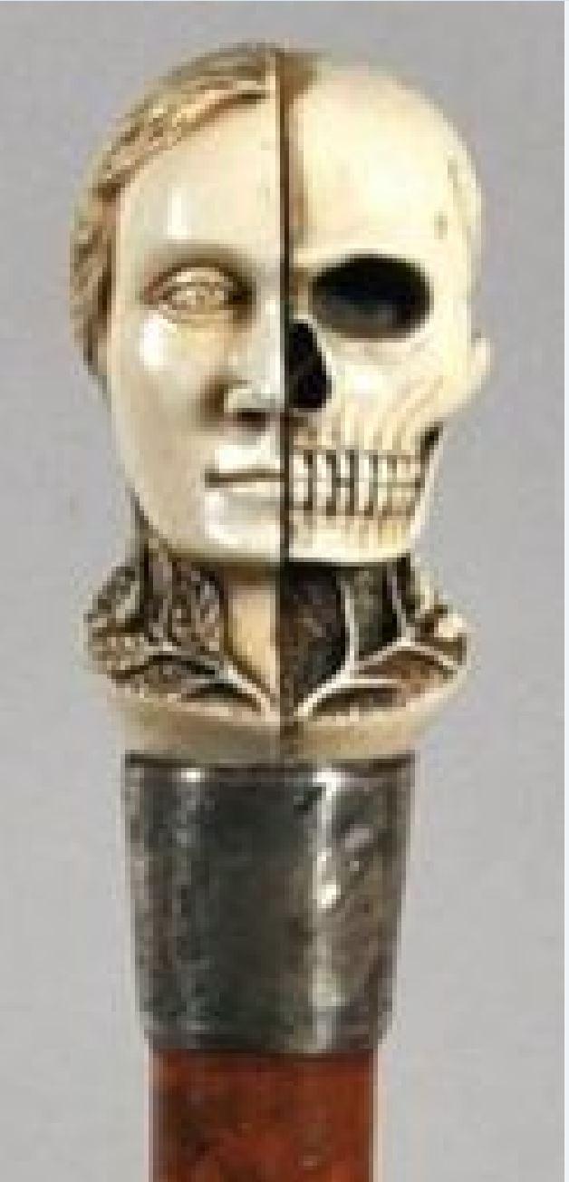 19eme fin Canne a pommeau en ivoire sculpte