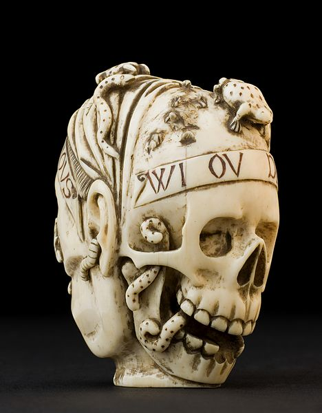 AINSI SERONS NOUS WI OU DEMAIN Ivory_model_of_a_skull_and_a_human_head,_France_Wellcome_L0057571