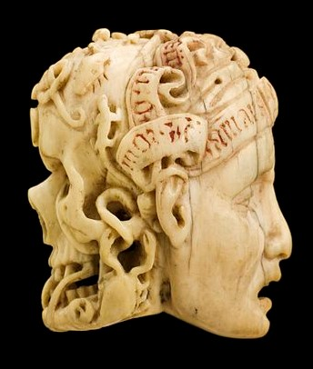 AMARA MEMO Ivory_model_of_half_a_human_head,_half_a_skull,_Europe_Wellcome_L0057081