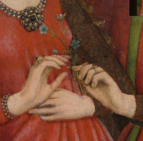 Anonyme 1470 ca, Les Amants bridal couple cleveland museum detail mains