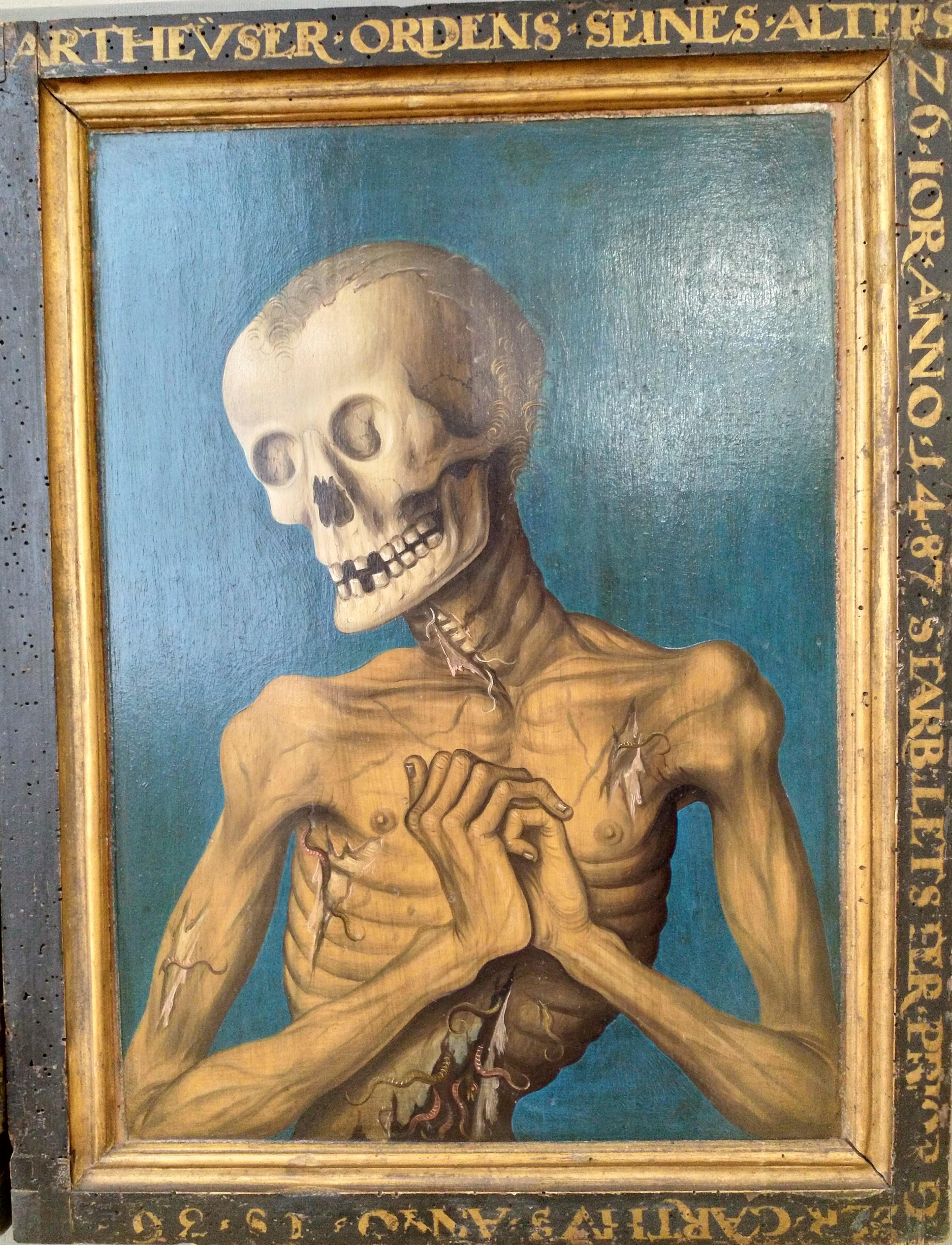 Anonyme 1487 Double portrait macabre de Hieronymus Tschekkenburlin, Bale, Kunstmuseum B