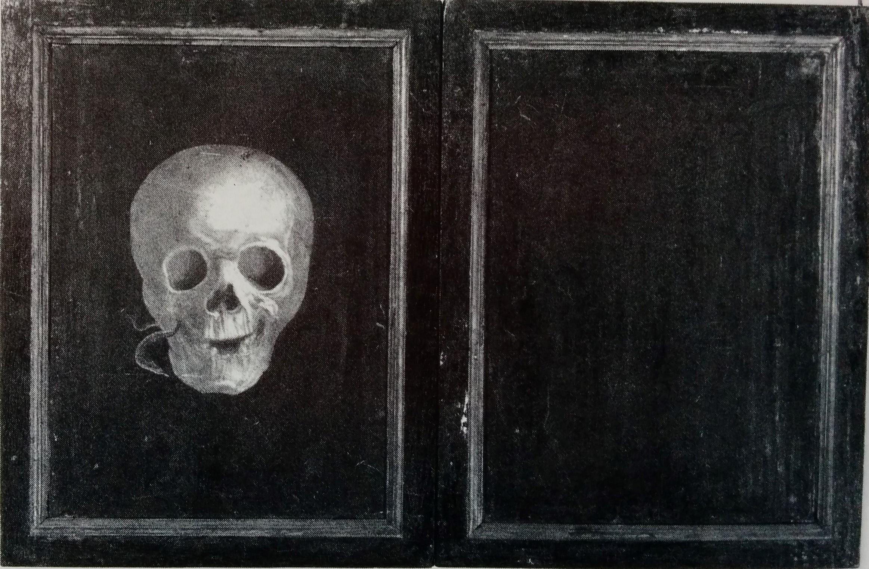 Anonyme nach 1487, Der Kartausermonch Hieronymus Tschekkenbürlin blickt dem Tod ins Gesicht. Diptychon revers