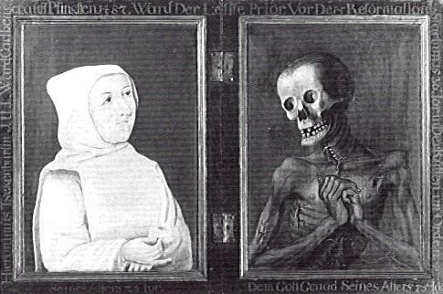 Anonyme nach 1487, Der Kartausermonch Hieronymus Tschekkenbürlin blickt dem Tod ins Gesicht. Diptychon