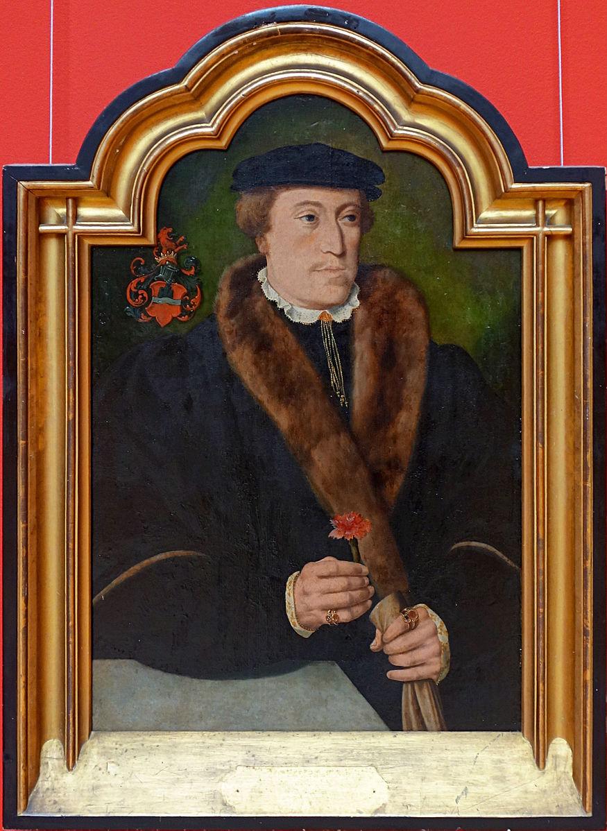 Barthel Bruyn l Ancien Portrait d'homme tenant un œillet et un gant debut XVIe recto Palais des BA Lille
