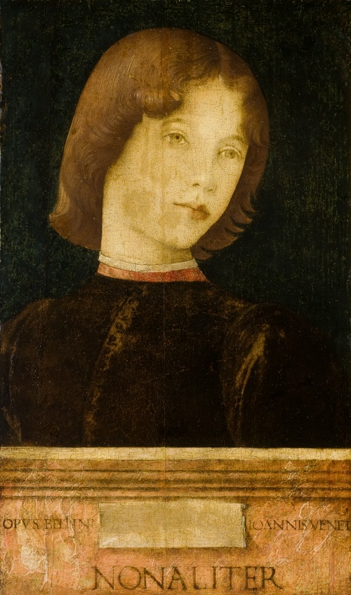 Bellini, Giovanni. Portrait d'un jeune homme, vers 1475-80. Birmingham, Barber Institute of Fine Arts recto