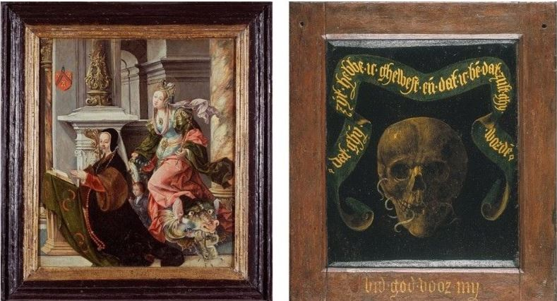 Diptych_with_Portrait_of_Margaret_Mettanye_with_her_paton_saint_and_Memento_Mori Lancelot Blondeel 1525 35 Groeningue Museum Bruges