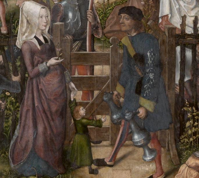 Fete des arbaletriers Maitre de francfort Fin XVeme Musee des Beaux arts Anvers detail portillon