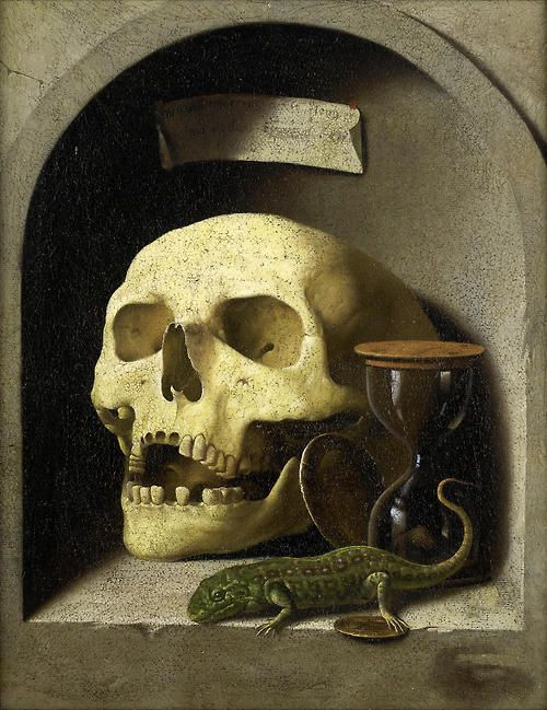 German School, circa 1600, A skull, a lizard, coins and an hourglass in a painted stone niches