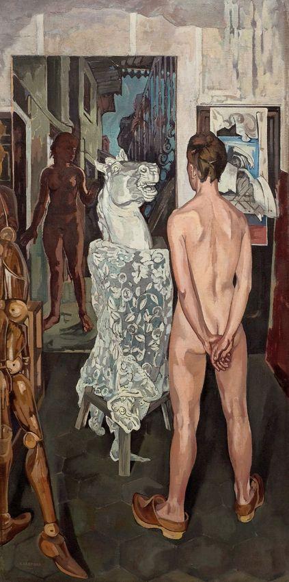 ITALO CREMONA 1940 Nudo col cavallo di gesso