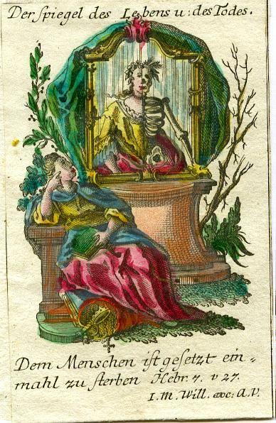 Johan Martin Will 1753-1800 Augsbourg Image pieuse Le miroir de la vie et de la mort