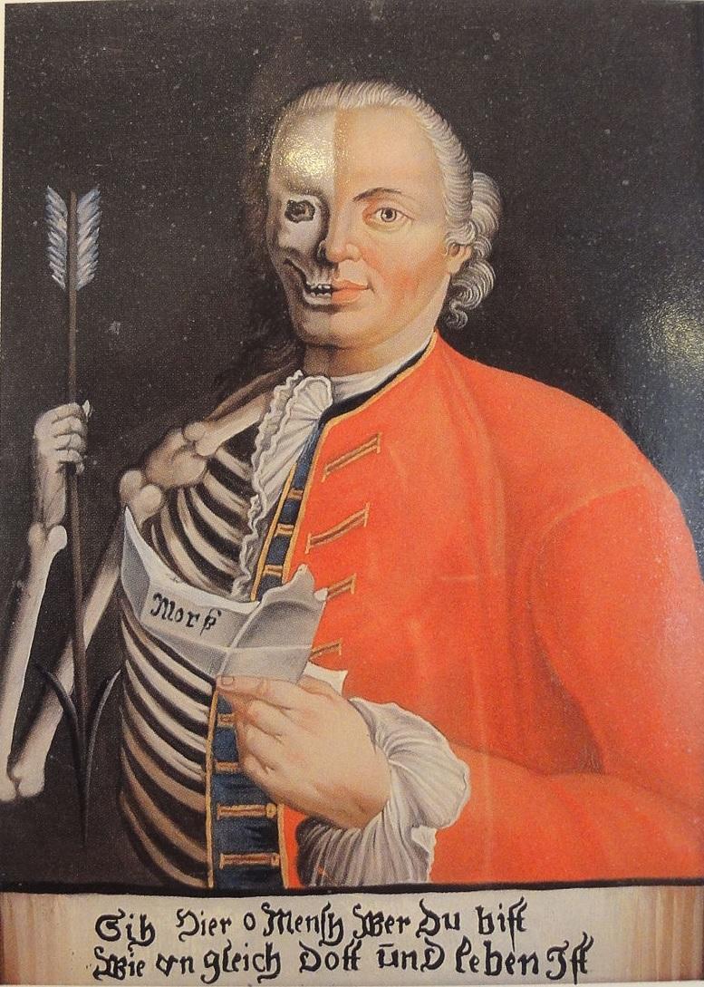 Johann Michael Eder 18. Jahrhundert Stadtischen Museum Rosenheim Mann_halb_lebend,_halb_skelettiert glass painting
