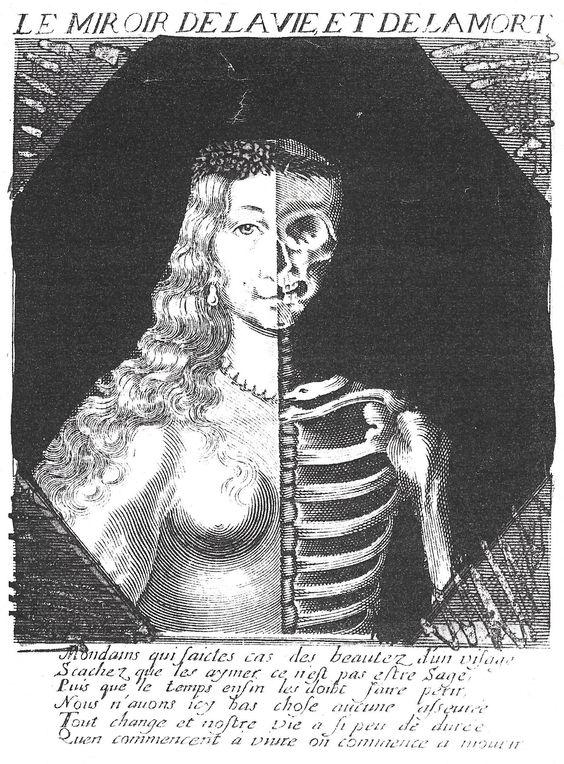 Le miroir de la vie et de la mort gravure XVII Musee Carnavalet, Paris