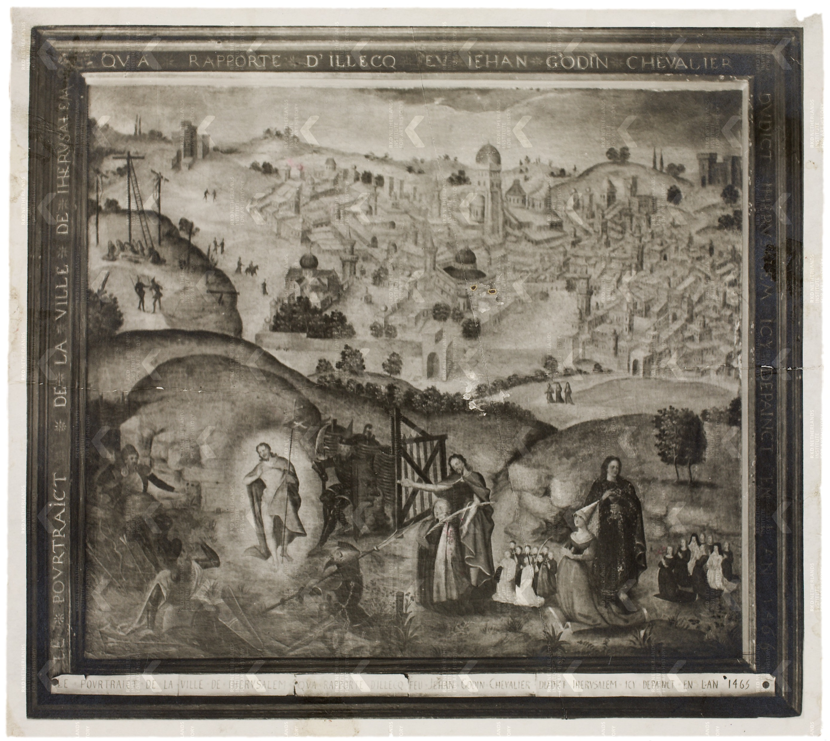 Le pourtraict de la ville de Iherusalem, qua rapporte d'illecq feu Jehan Godin chevalier du dict Iherusalem, icy dépainct en l'an 1465 coll privee anonyme
