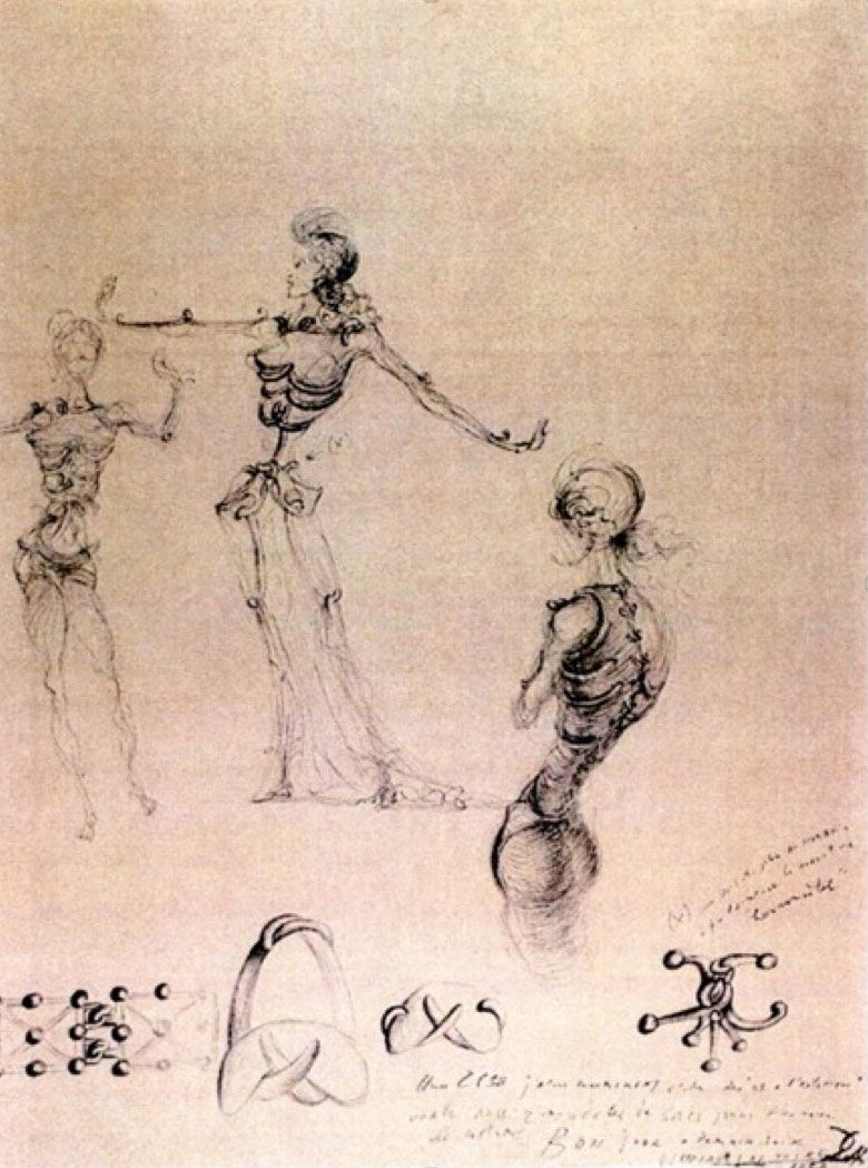 Skeleton dress Study of figures Dali 1938