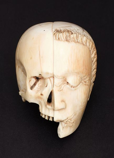 Tetedouble C Ivory_model_of_a_half_head,_half_skull._Front_view._Black_ba_Wellcome