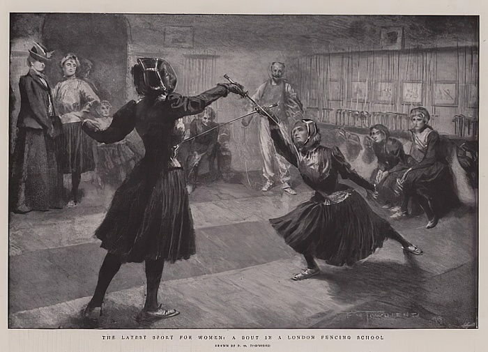 The Latest Sport for Women, a Bout in a London Fencing School By Frederick Henry Townsend, The Graphic, 24 June 1899