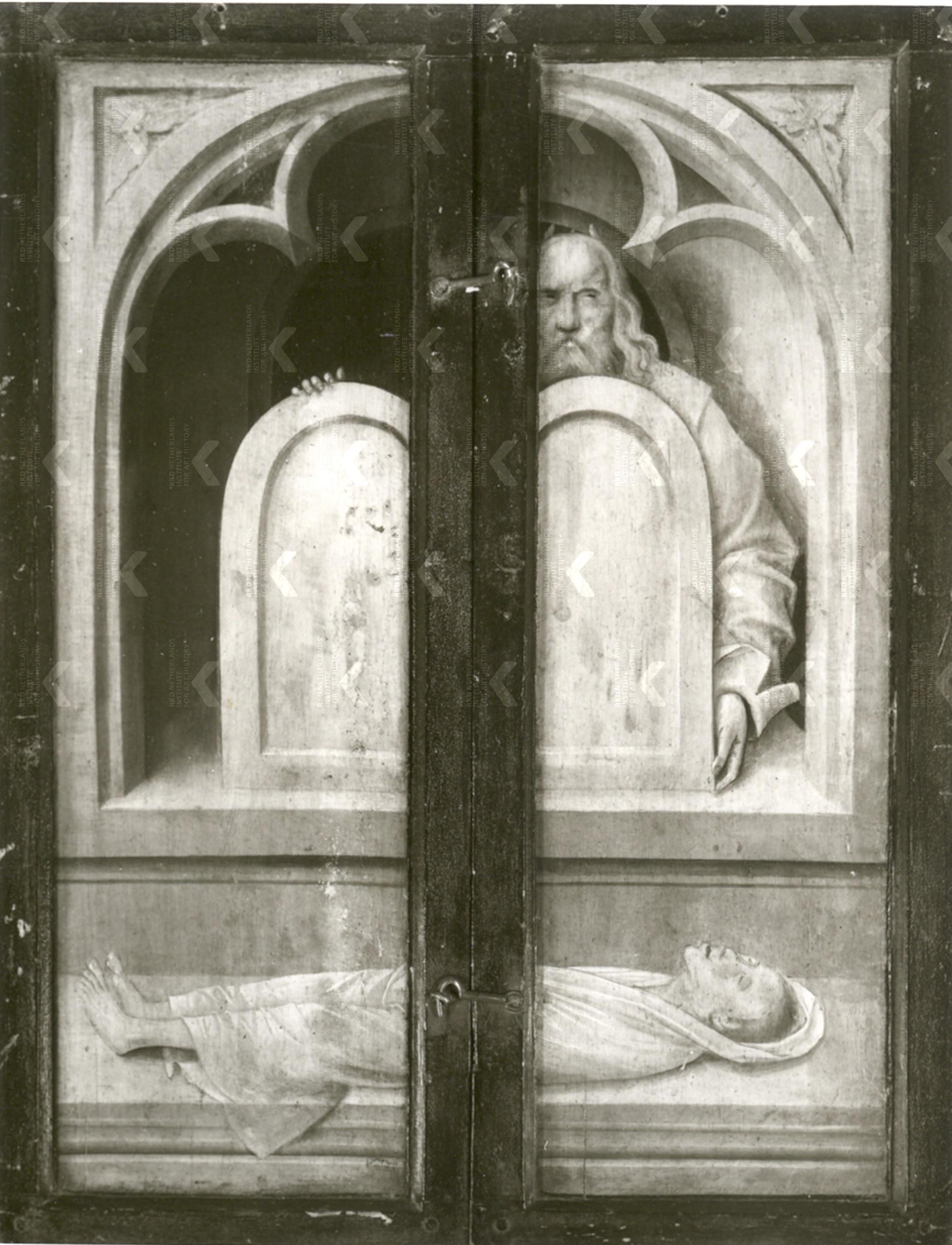 Triptyque avec St Jean Baptiste St Jerome et St Antoine ap 1496 Suermondt-Ludwig-Museum, Aachen reverse