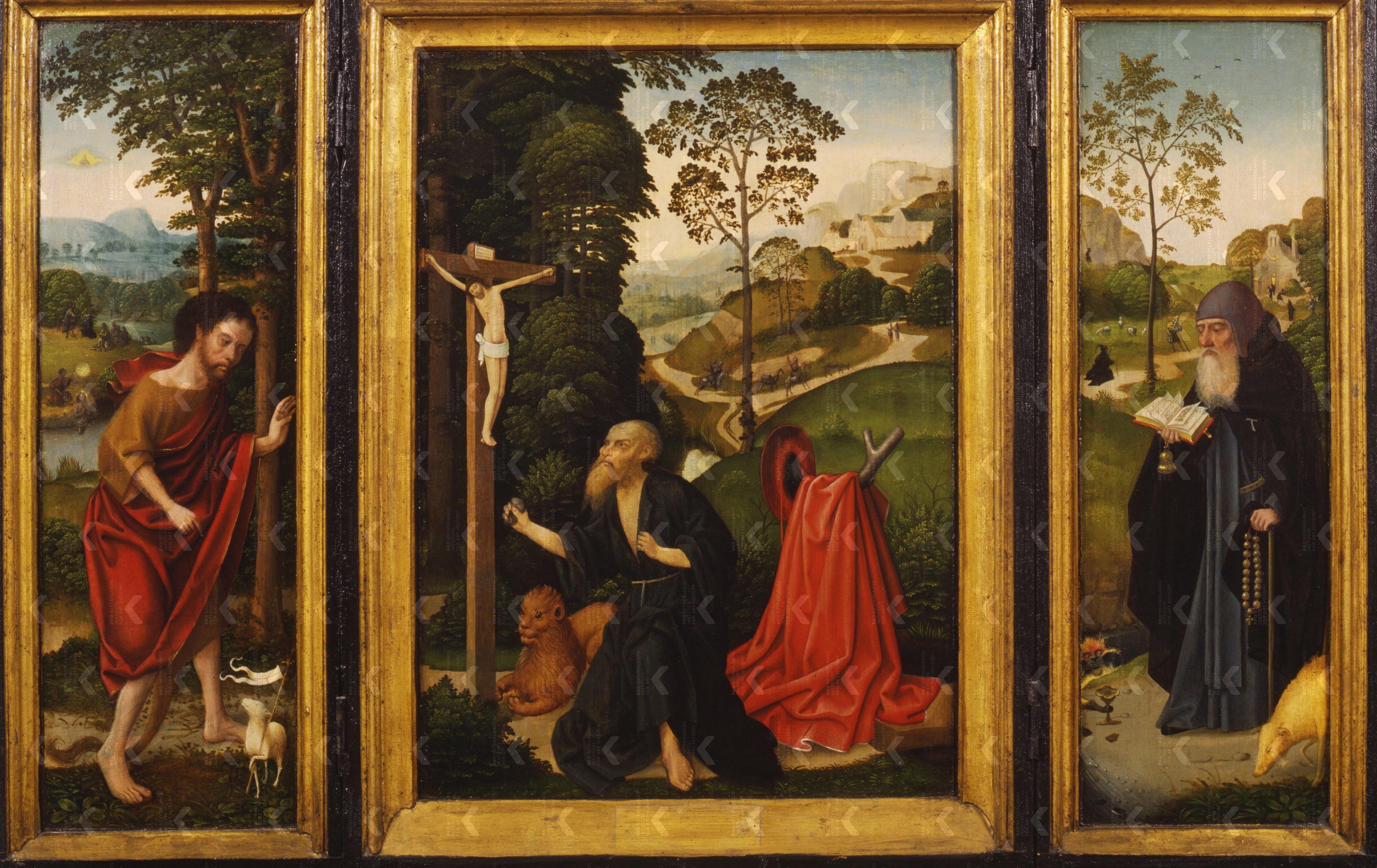 Triptyque avec St Jean Baptiste St Jerome et St Antoine ap 1496 Suermondt-Ludwig-Museum, Aachen