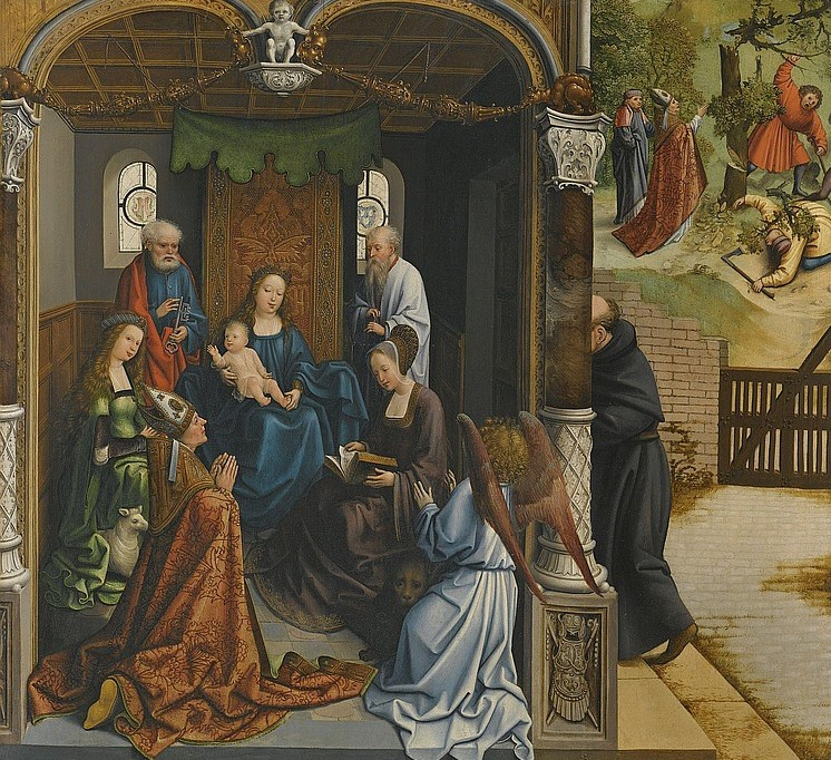 Van Orley 1515-19 THE VIRGIN AND CHILD ADORED BY SAINT MARTIN AND OTHER SAINTS INCLUDING SAINT PETER, AGNES, MARY MAGDELENE, AND ANTHONY (), AND BEYOND SAINT MARTIN ORDERING A TREE TOColl part