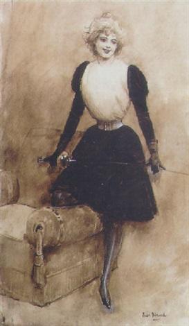 jean beraud 1895 ca gouache lescrimeuse-au-salon
