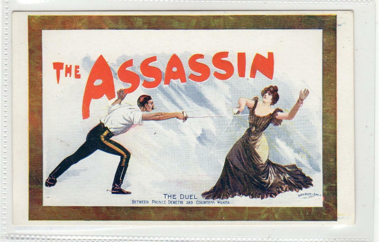 postcard-the-assassin-Duel scene between Prince Demetri and Countess Wanda 1904 affiche de david allen
