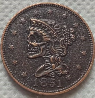 1851 Liberty Half cent Hobo nickel