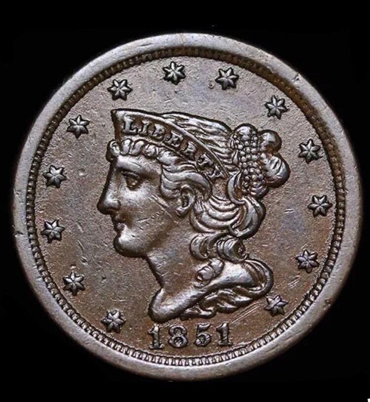 1851 Liberty Half cent