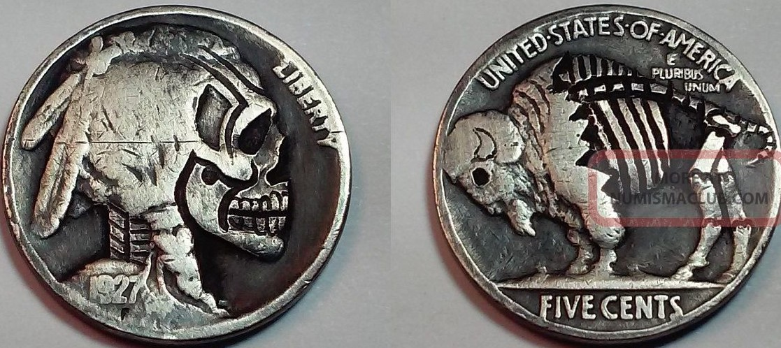 1927 hobo_nickel_skull__buffalo_zombie