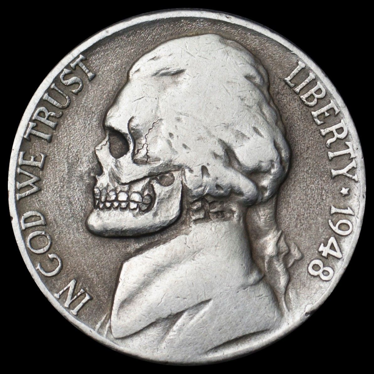 1948 Jefferson nickel 5 Cents skull