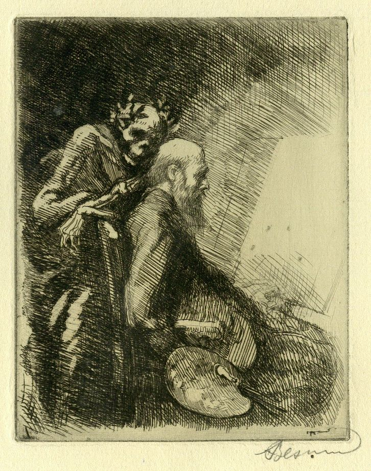 Albert BESNARD Autoportrait - Gravure pour la suite Elle - 1900