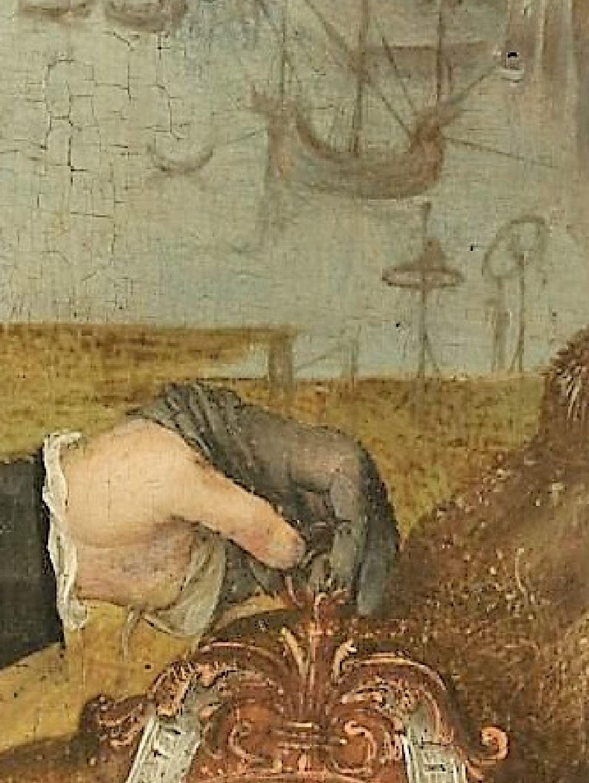 Attr Jan Jansz. Mostaert 1525 ca Portrait d'un jeune homme tenant un memento mori coll priv detail